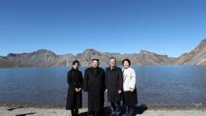 北 조선중앙통신, 남북정상 백두산행
